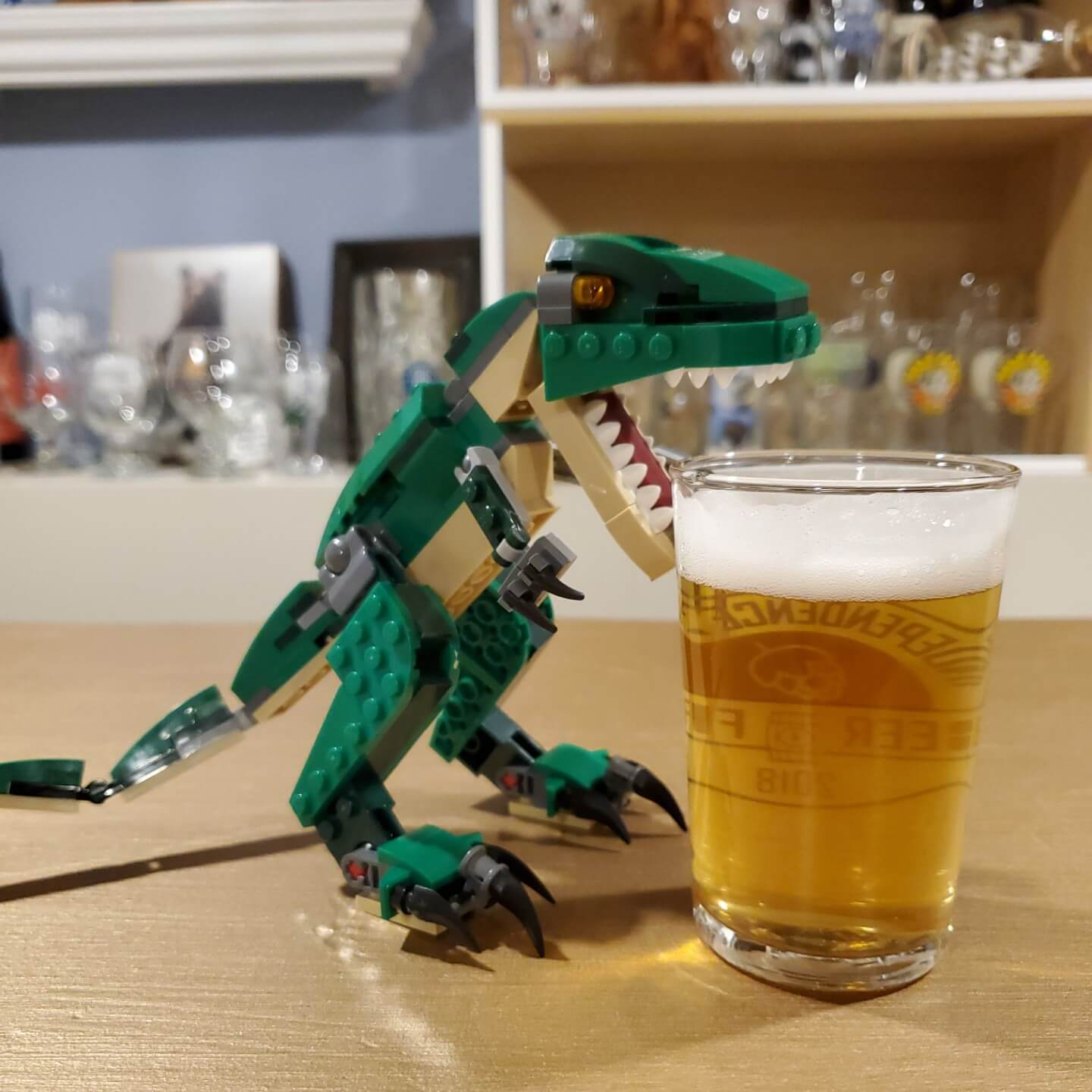 lego T-Rex drinking my beer